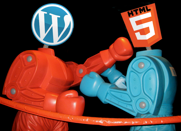 Wordpress versus HTML robot fight