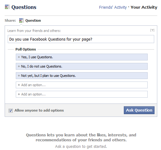 how to ask a question on facebook page